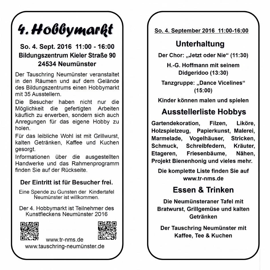 4. Hobbymarkt – Tauschring Neumünster – Vicelinviertel